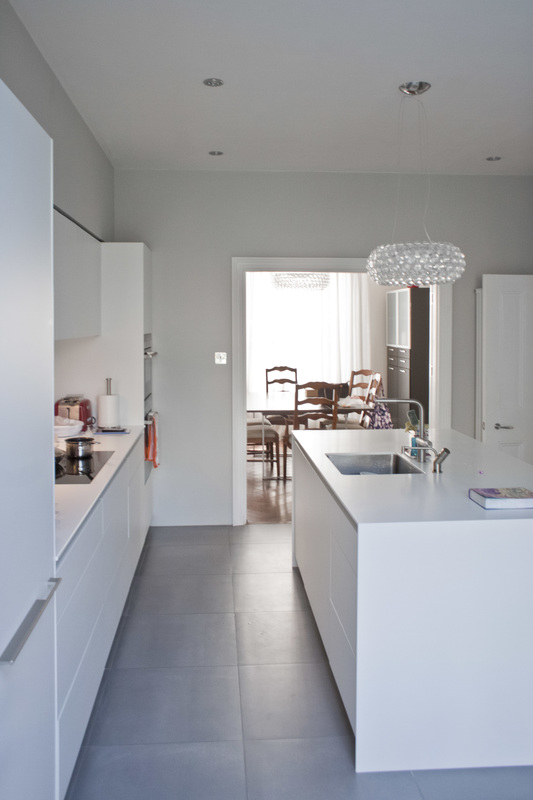 Contemporary white  Kitchen for a South London  Victorian conversion designed by Studio Fade