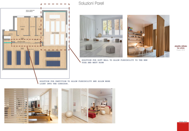 Design Concept an d mood board for a Pilates Studio, Catania, Italy, wall treatment by Studio Fade